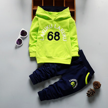 2 Pcs Suits Toddler Tracksuit Autumn Baby Clothing Sets Children Boys Girls Fashion Brand Clothes Kids Hooded T-shirt And Pants