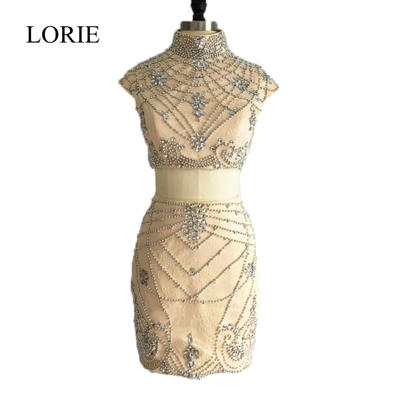 LORIE Champagne Two Piece Prom Dresses Short 2018 Special Occasion Party Dresses High Neck Crystals Elegant Women Pageant Gown