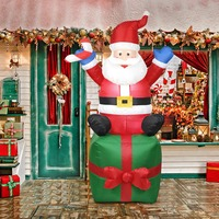 1.8m Inflatable Santa Claus Arch Decoration EU Plug Christmas Outdoor Ornament for Xmas New Year Party Yard Home Shop Atmosphere