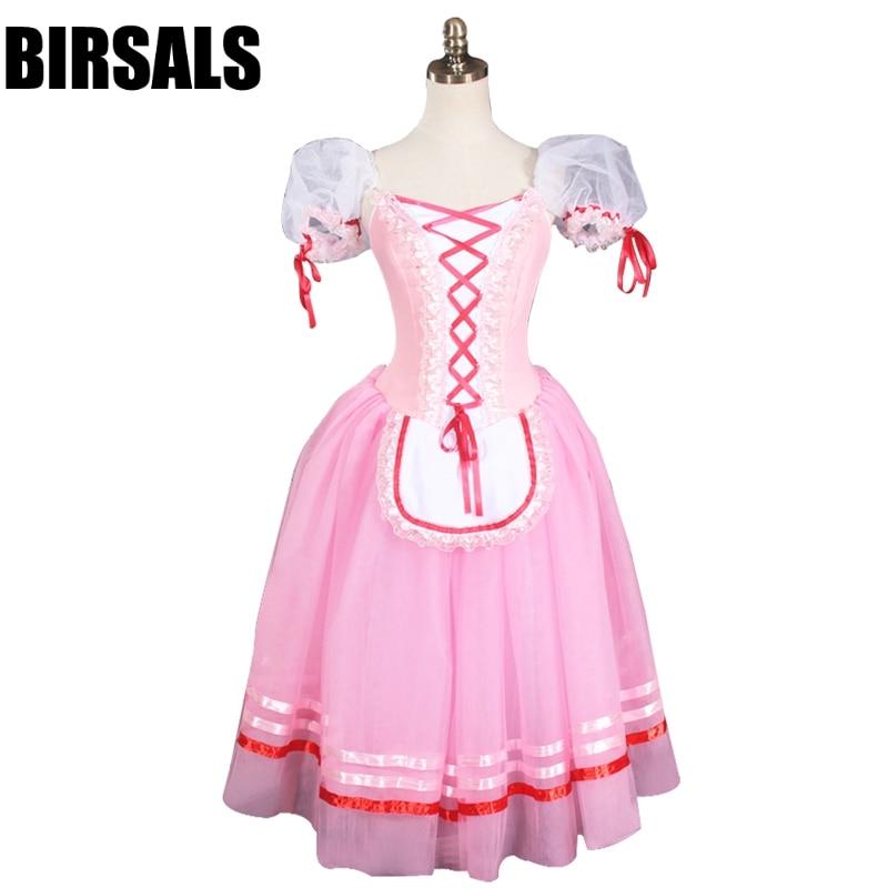 Professional Ballet Tutu Pink Women Giselle Ballet Long Tutu Dress Napoli Ballerina Ballet Stage Costume BT8904A