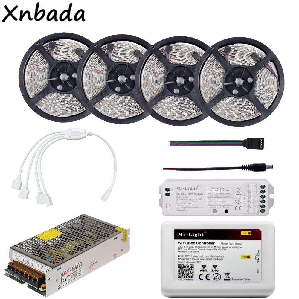 2835SMD 60Leds/m Led Strip Light With Milight 2.4G WIFI IBOX 5 In 1 Smart Led Controller Power Supply Kit 5M 10M 15M 20M good group diy kit led display include p8 smd3in1 30pcs led modules 1 pcs rgb led controller 4 pcs led power supply