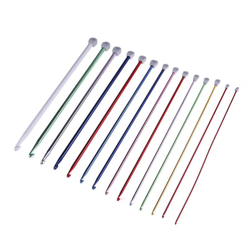 14 גודל 2.5mm כדי 11mm ססגוני וו סרוג סרוגים אפגניים ווי צבעים אלומיניום מסרגות וו
