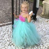 Generous Pure Handmade Mint Flower Girl Tutu Dress Princess Wedding Birthday Party Celebrate Tutu Dress For Kids Photos Clothing