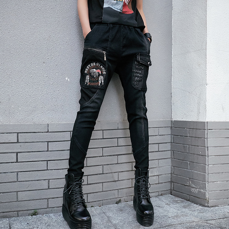 Women Hipsters Harem PENCIL Pants Capri Gothic Punk Zipper Trousers Harajuku Slacks Hip Hop Jogging Sweatpant Streetwear Stylish