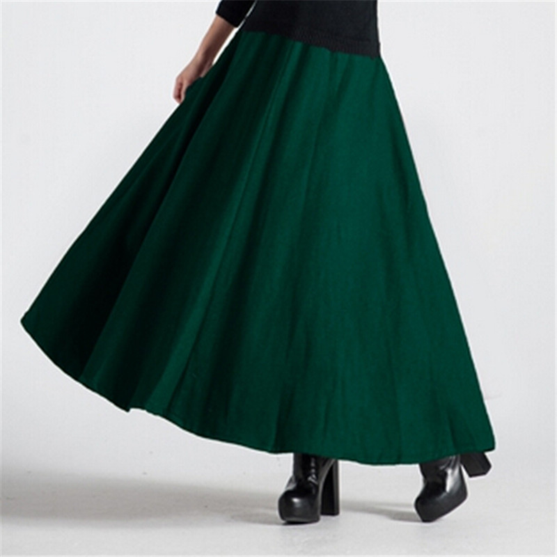 New Winter Women Maxi Skirt Fashion Woolen Skirts Female High Waist Warm Slim Loose Winter Long