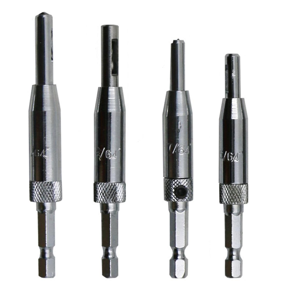 4pcs/lot HSS Self Centering Drill Bits Hinge Drill Bit Door Cabinet 5/64 7/64 9/64 11/64 For Carpenter Furniture Makers