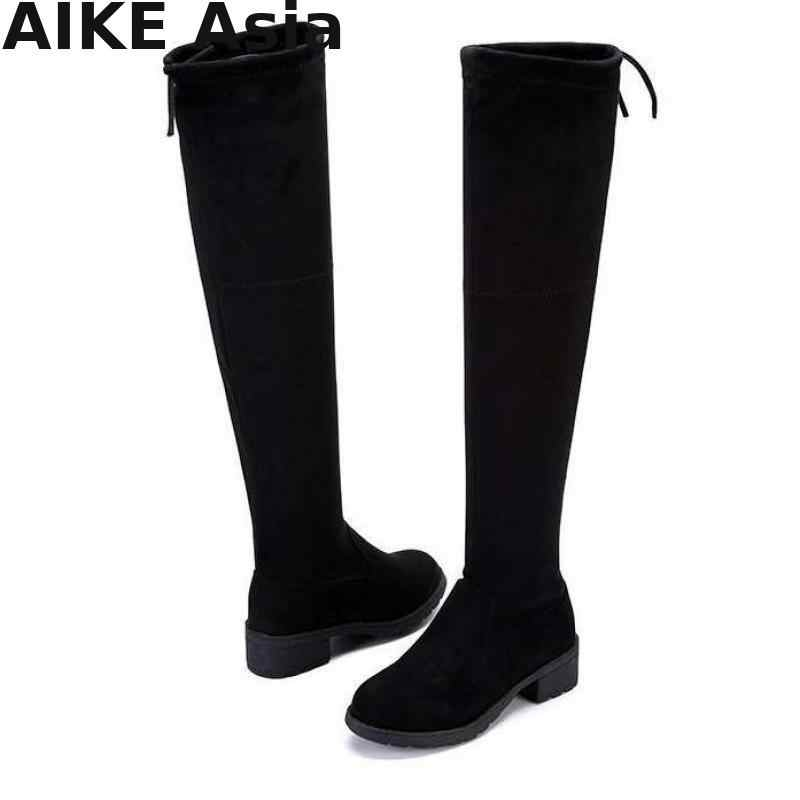 Taille 35-41 nouvelles bottes femmes chaudes automne hiver dames mode chaussures à fond plat sur le genou cuisse haute daim longue Botas R66