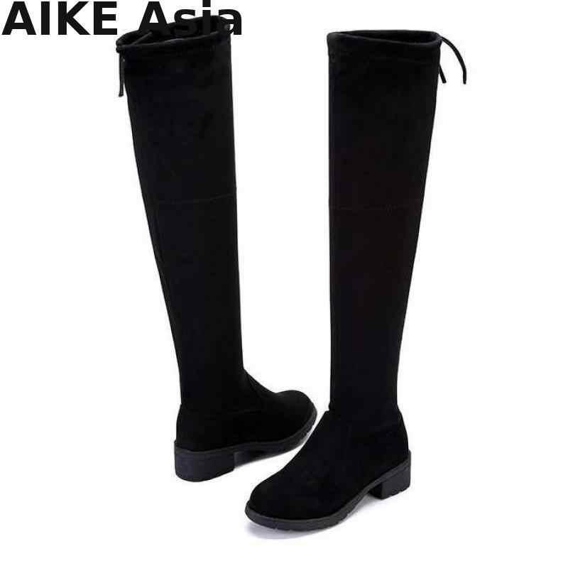 Talla 35-41 nuevas botas de mujer calientes Otoño Invierno señoras moda Zapatos de fondo plano sobre la rodilla muslo alto botas largas de gamuza R66