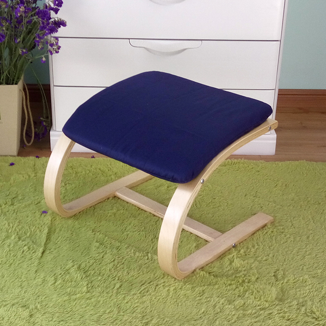 Living Room Footstool Ergonomic Furniture Comfortable Wooden Ottoman Chair With Cushion Seat Plywood Small Wood Stool Footrest