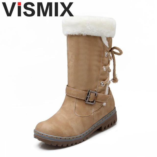 Vismix Новая обувь сезона 2017 с бесплатной доставкой Для женщин Сапоги и ботинки для девочек Дизайнерская Женская обувь; теплые меховые женские полусапожки для улицы, которые хорошо сохраняют тепло; сезон зима теплые женские ботинки из водонепроницаемого материала