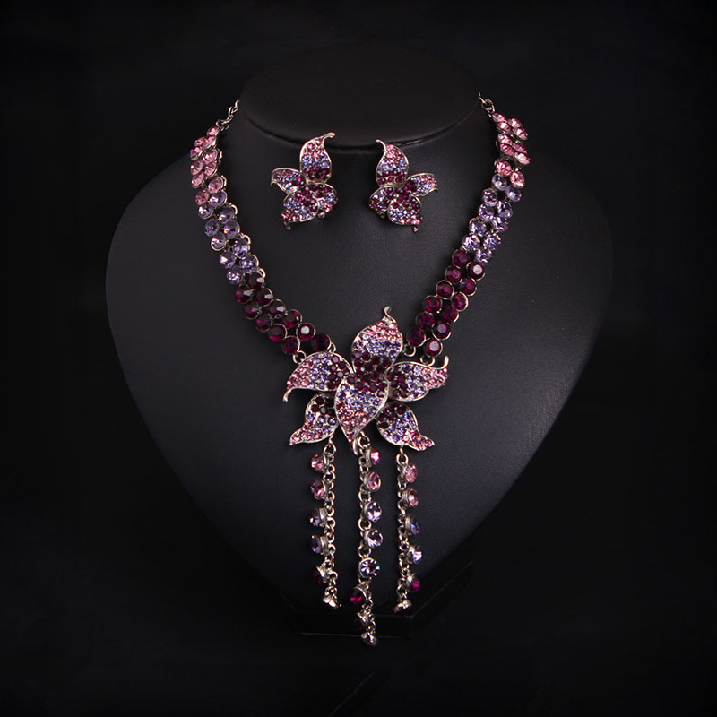 Vintage Punk Gothic Style Fashion Women Collar Choker Statement Necklace Purple Crystal Rhinestone Earrings Jewellery vintage bib rhinestone crystal statement choker necklace for women