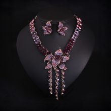 Vintage Punk Gothic Style Fashion Women Collar Choker Statement Necklace Purple Crystal Rhinestone Earrings Jewellery