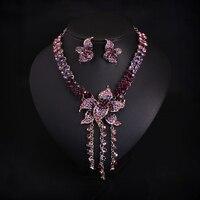 Vintage punk gotyk moda kobiety collar choker komunikat naszyjnik fioletowy kryształ rhinestone kolczyki biżuteria