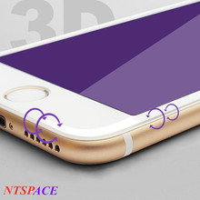 Tempered glass For iphone 6s 7 8 Plus full-screen 3D Surface Anti-violet carbon fiber For iphone 6/7/8/X purple light glass film