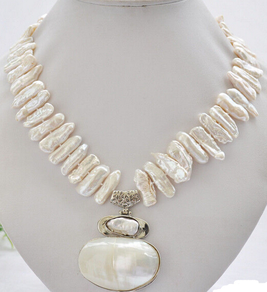 Free Shipping ***Hot sale >>17 25mm white biwa dens freshwater pearl necklace mabe pendant
