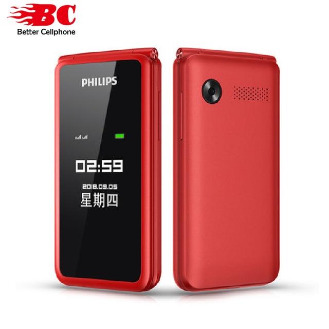 מקורי פיליפס E256S 2.4 inch 1300mAh סוללה אחת מצלמה רדיו FM Dual SIM 2G flip מקלדת טלפון מהיר חינם