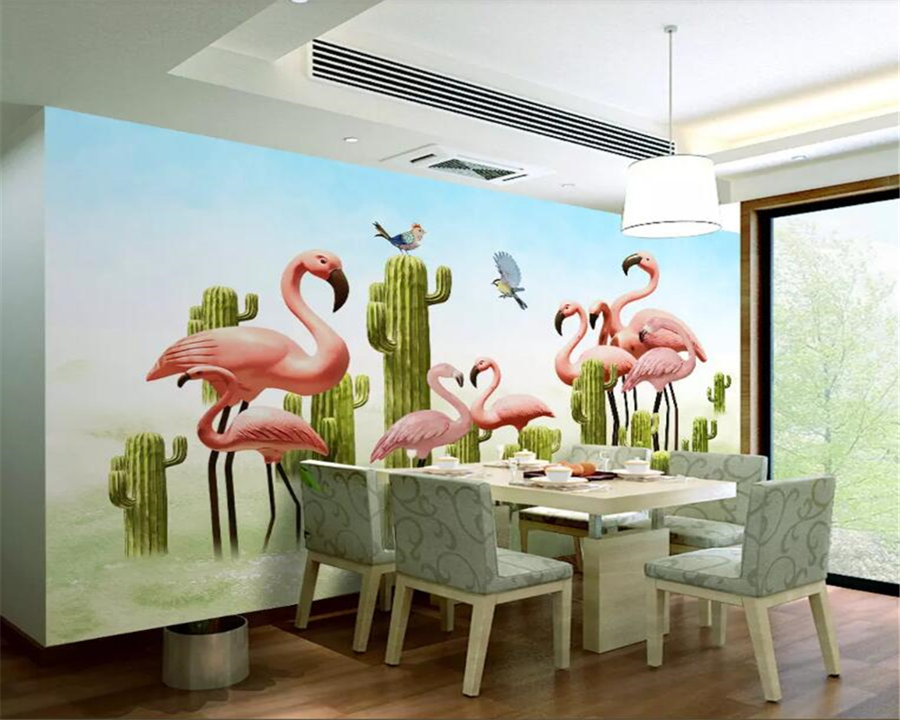 beibehang Custom wallpaper mural Nordic small fresh 3D cactus flamingo background wall painting papel de parede 3d wallpaper in Wallpapers from Home Improvement