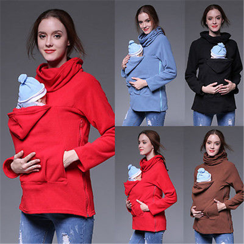 Woman Mother font b Kids b font Kangaroo jacket coat for mom and BABY baby carrier