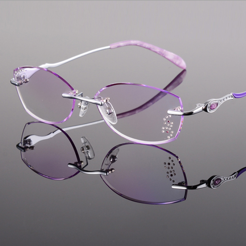 11b49d2de2 Titanium Eyeglasses Women Rimless Prescription Reading Myopia Photochromic  Progressive Glasses Spectacle with Color Tinted lens