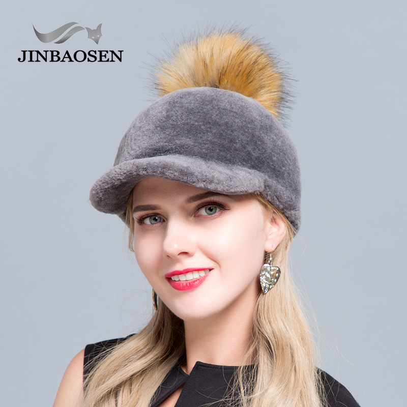 JINBAOSEN 2019 New Fashion Baseball Cap Sheepskin Hat Fashion Fur Hat Raccoon Fur Ball Cap Duck Tongue Winter Ski Cap