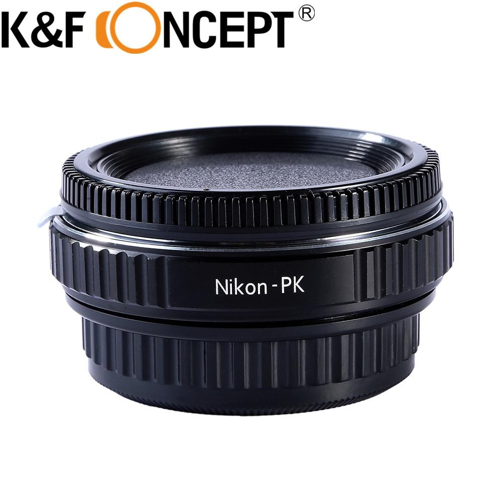 Adaptateur de monture d'objectif K & F Concept pour objectif Nikon vers Pentax K adaptateur de montage PK avec verre pour corps de caméra Pentax
