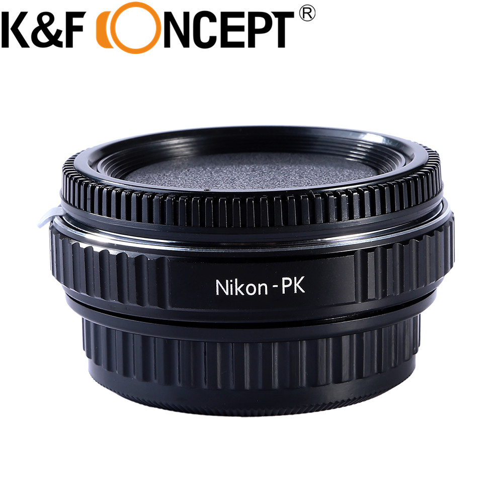 K&F Concept Lens Mount Adapter Ring for Nikon Lens to Pentax K PK Mount Adapter with Glass for Pentax Camera Body fotga pk eosm pentax pk lens to canon m mount adapter black silver