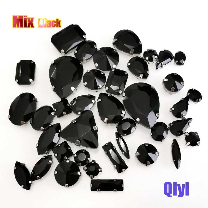 Vendre à perte! 50 pcs/sac de haute qualité forme mixte noir verre faltback coudre sur griffe strass, bricolage vêtements accessoires