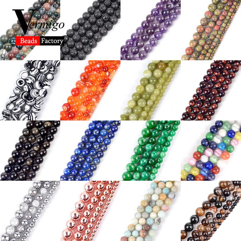 Natürliche Mix Edelstein Stein Achate Mineralien Perlen Lave Amethysten Lapis Lazuli Runde Lose Perlen Für Armband Schmuck Machen 4- 12mm Diy