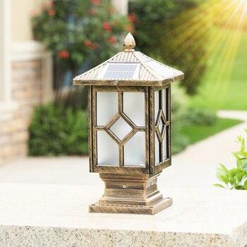 solar powered led lights outdoor auto on/off aluminum column lamp garden landscape lighting waterproof and rust