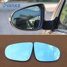 smRKE 2Pcs For Volkswagen Bora 2008-2015 Rearview Mirror Blue Glasses Wide Angle Led Turn Signals light Power Heating