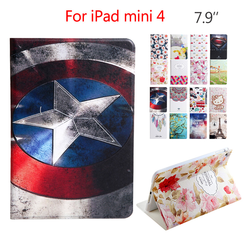 For iPad mini 4 mini4 Tablet Leather Case Cover Slim 7.9'' 3D Stereo Relief Protective Stand For Apple iPad Mini 4 Smart Fundas btd stand tablet case cover for apple ipad mini