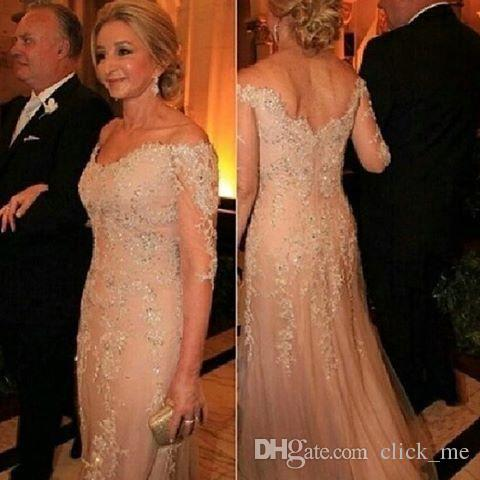 vestido novia Lace Sequined 3/4 Long Sleeves Deep V neck Appliques Groom Formal Evening Prom Gowns mother of the bride dresses