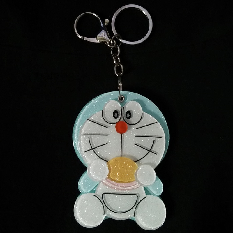 New Fashion Cat Design Portable Makeup Mirror Key Chain Face Eye Bag Chain Car Key Rings Flash Keychain Hot Selling!