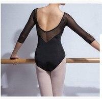 Milk Silk Gymnastics Leotard Adult Long Sleeved Jumpsuit Ballet Leotards For Women Mesh Dancewear Professional Ballet