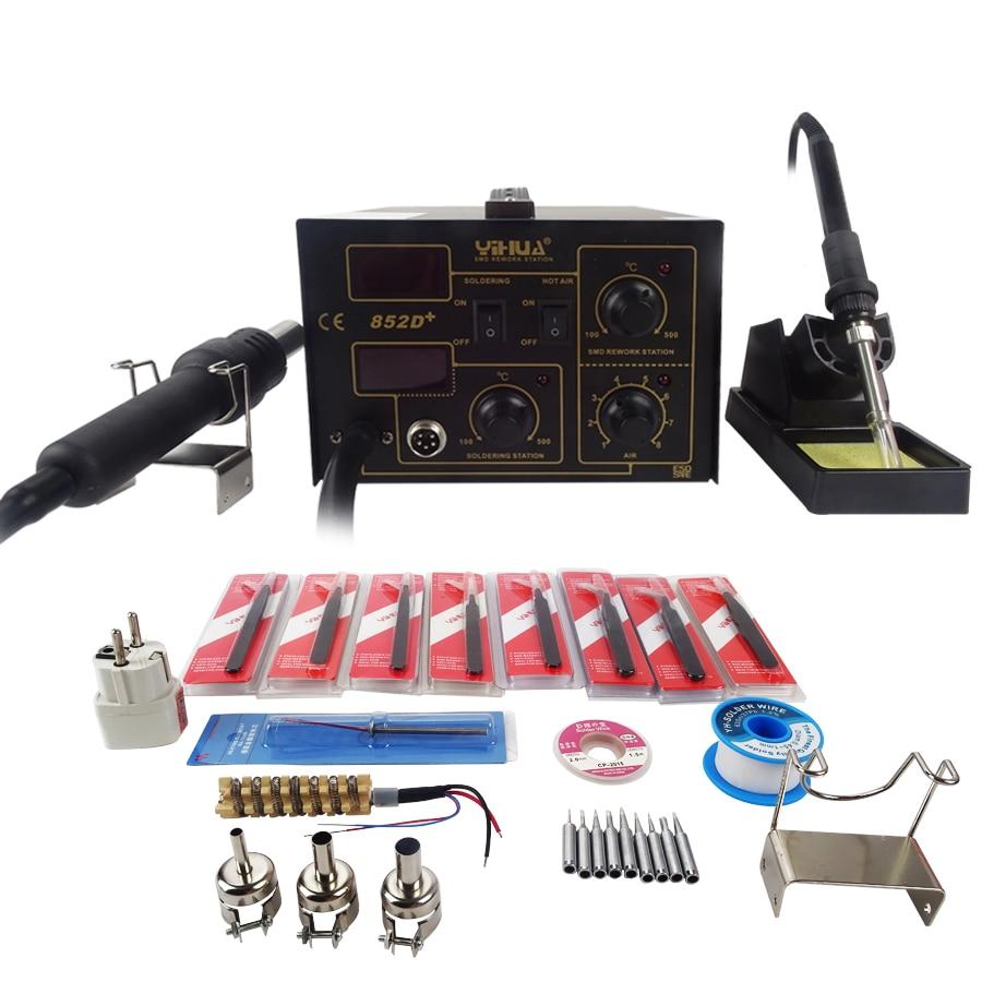 ФОТО 110V/220V YIHUA-852D+ Soldering Station Hot Air Gun Digital Soldering Iron welding machien with the English Manual