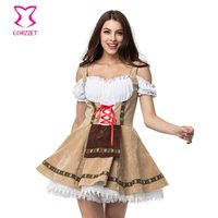 Brown Dirndl Maid Sexy Oktoberfest Beer Girl Costume Maid Wench Germany Bavarian Short Sleeve Fancy Dress Dirndl For Adult Women