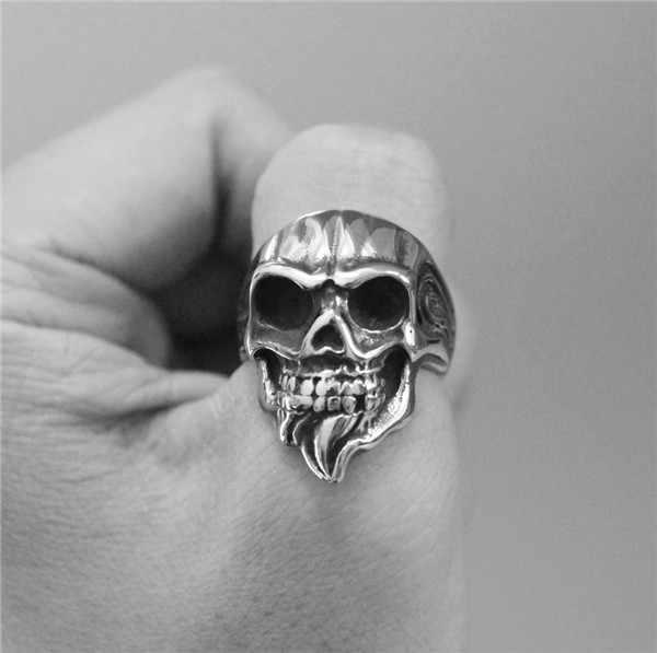 ขนาด7-14เย็น316Lสแตนเลสสีเงินเย็นวงกะโหลกแหวนวินเทจผู้หญิงสุภาพสตรีBiker s Kullแหวน