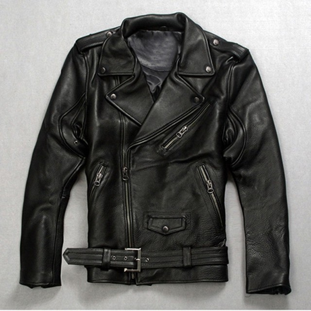 High Quality Fashion Mens Punk Belted Real Leather Waistcoat Slim Fit Moto Riding Biker Jacket ZIP Coat Italian Designer