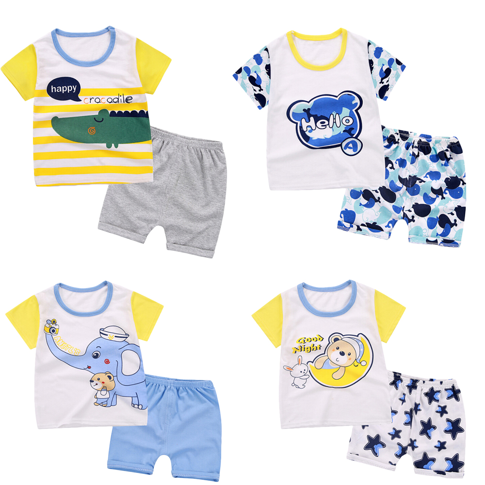 Cotton Soft Baby Boys Clothing Siut Casual Toddler Kids Outfits Shorts Infant Girls Clothes Siut Cute Cartoon T-shirt + Pants 0 18m toddler kids boys high crib shoes soft sole infant ankle canvas prewalker