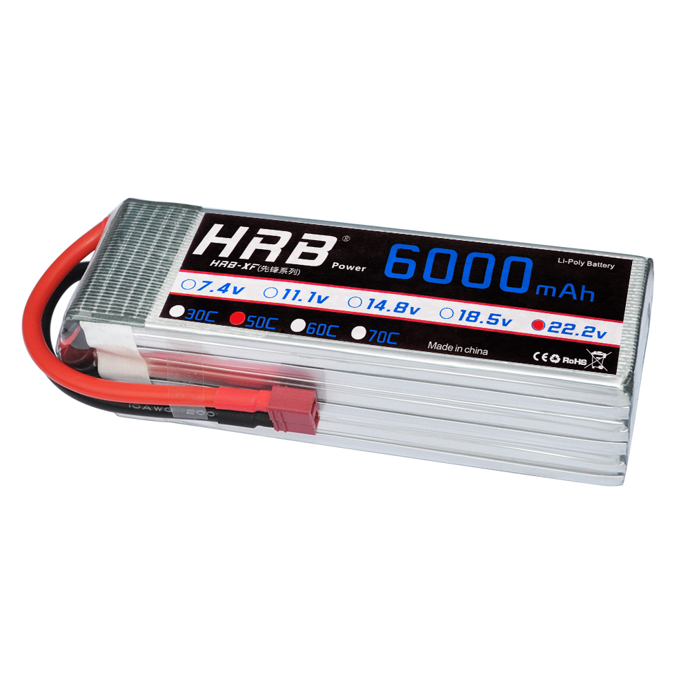 HRB Lipo Battery 6S 22 2V 6000mAh 50C Max 100C for RC Drone FPV UAV Helicopter