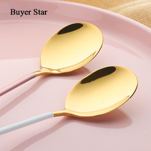 Stainless Steel Gold Plated Spoon 1 pcs Gold Spoon for Ice Cream Dinner Tableware  Dessert Tea Coffee Spoons