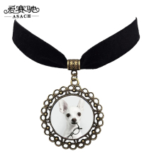 ASACH Cute Animal Chihuahua Dog Choker Necklace Vintage Black Velvet Chocker Necklaces For Women Men Fashion Jewelry collar Gift