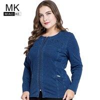Miaoke 2018 plus size denim jacket women clothes Fashion Long sleeves round neck zipper short jacket Large size 4xl 5xl 6xl