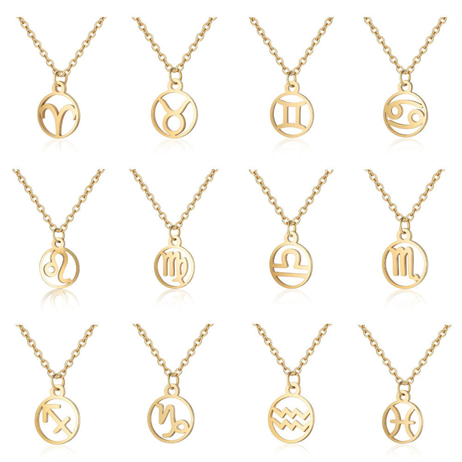12 Constellations Pendant Necklace For Men/Women Birthday Gifts Gold Color Stainless Steel Amulet Necklace Zodiac Signs Jewelry