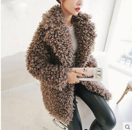 Women'S Casual Winter And Autumn Lambs Wool Coat Long Section Black / Coffee Long Sleeves Faux Fur Jacket Outwear Clothes J430 2016 autumn winter women s casual fashion not as long as before and after long section side seam zipper bags seven snowflakes