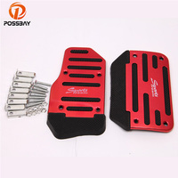 POSSBAY 92% OFF Car Racing Pedals Universal Aluminum Manual Brake Pedal Foot Pedal Non Slip Red Car Accelerator Foot Rest Cover