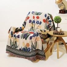 Manta Vintage de flores de doble cara de algodón de tejer tapiz de pared sofá toalla cubierta de cama alfombra decoración de granja colgante de pared