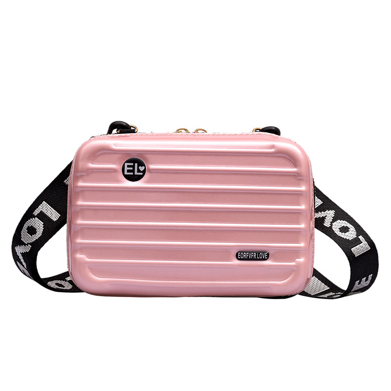 Women Mini Suitcase Shape Crossbody Bag Shoulder Bag With Wide Letter Strap AB@W3