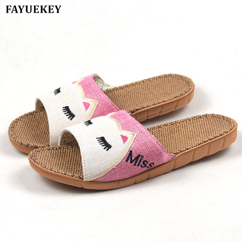 FAYUEKEY New Summer Animal Cat Miss Printed Home Linen Slippers Women Indoor\ Floor Non-slip Beach Slides Flat Shoes Girls Gift fayuekey 2018 new fashion summer home linen non slip breathable slippers men indoor floor outdoor beach boys flat slides shoes