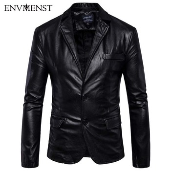 Envmenst Leather Jacket Men Coats 5XL Brand England Style PU Outerwear Motorcycle Winter Faux Leather Male Jacket